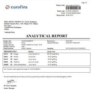 Lab Analysis Report Of Honey